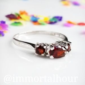 Sterling Silver 925 Garnet Ring SZ 8